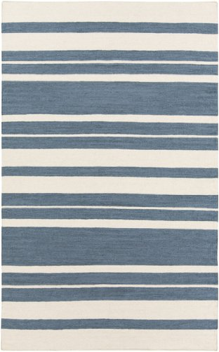 3.5' x 5.5' Epais Raye Smokey Blue and Beige Reversible Hand Woven Wool Area Throw Rug