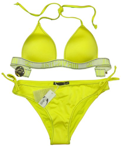 "JUST CAVALLI ""Giant Logo Padded"" Damen mit Logo Triangel Bikini Wet-look mit Strass (Gelb/Blau) L / 38-40 (de)"