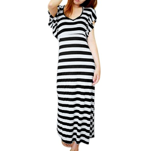 Allegra Ladies Black White Striped