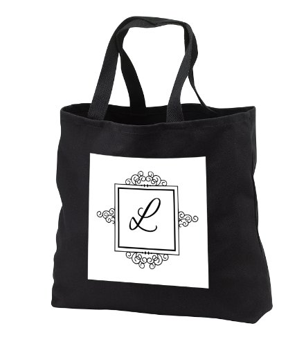 Tb_154335_3 Inspirationzstore Monograms - Initial Letter L Personal Monogrammed Fancy Black And White Typography Elegant Stylish Personalized - Tote Bags - Black Tote Bag Jumbo 20W X 15H X 5D front-238459
