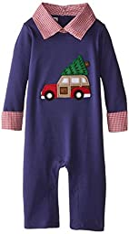 Mud Pie Baby-Boys Newborn Christmas Car One Piece, Blue, 12-18 Months