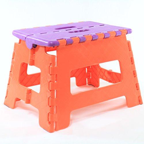 選べる 大きさ 滑り止め 付き  折りたたみ 式 踏み台 チェアー ベンチ 耐荷重 80 ~ 120 kg (小 パープル×オレンジ)