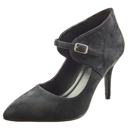 Sopily - Scarpe da Moda scarpe decollete alla caviglia donna Tacco Stiletto tacco alto 9 CM - Nero FRF-8-YX-10 T 41