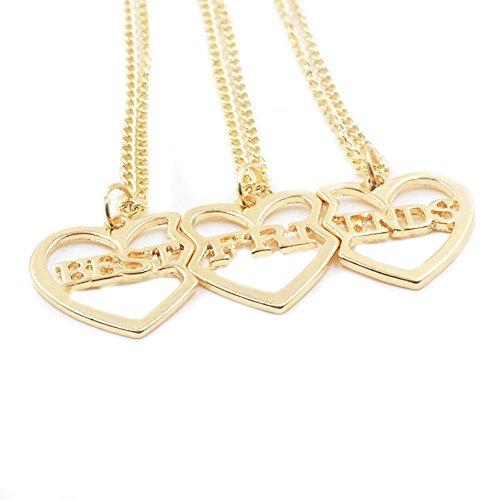 """3 Best Friends Forever-Collana in oro con scritta """"Love"""" In Friendship-Collana con ciondolo a forma di cuore, da donna"""