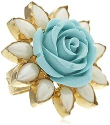 Bansri Enamel Ring for Women (Silver) (R3 SLV TURQ - J32)