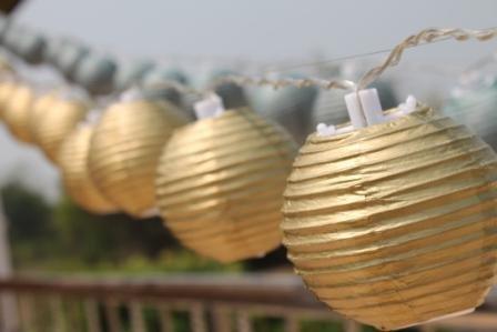 New Solar Powered 20 Led Gold Mini Round Paper Chinese Lantern Fairy Light String