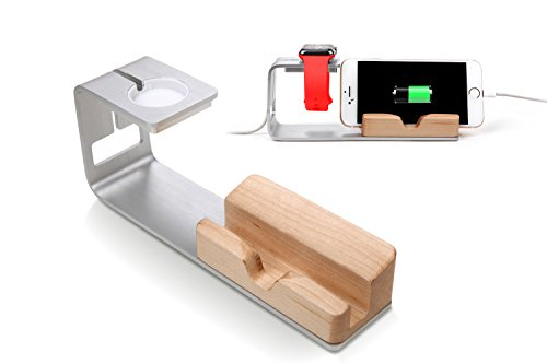 Apple-Watch-Stand-Hapurs-Aluminum-Alloy-and-Bamboo-Wood-Build-Holds-Charging-Dock-Charge-Station-Stock-Cradle-Holder-for-Apple-Watch-Both-38mm-and-42mm-iPhone-6-6-plus-5S-5