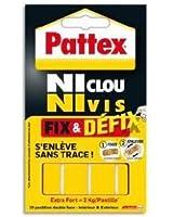 """Pattex Adhésifs 10 Pastilles Fixation double face """"Ni clou ni vis"""" Fix et Defix 40 mm x 20 mm"""