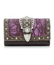 Purple Western Crocodile Rhinestone Buckle Checkbook Wallet