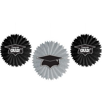 Creative Converting 3 Count Tissue Fans with Graduation Cap Attachment