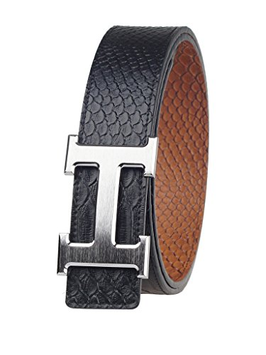 "Fengwen Men Reversible Genuine Leather Belt 1.5"" Width Copper Buckle HZ12001 Snake/brush finish silver M(34""-36"")"
