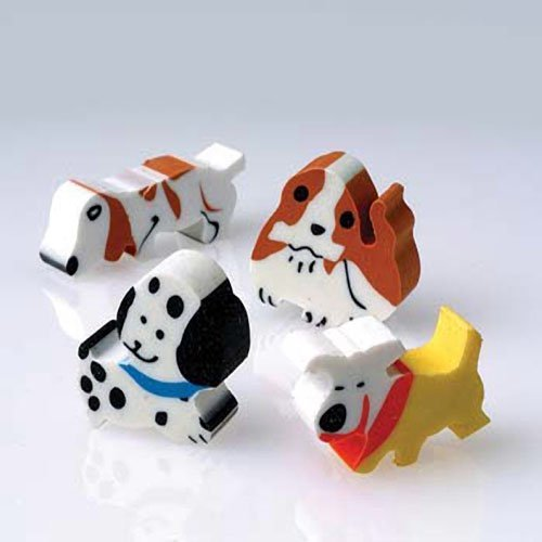 Lot Of 12 Assorted Color And Design Puppy Dog Theme Erasers - 1
