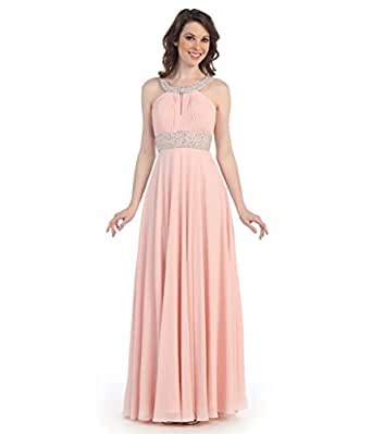 Amazon.com: Blush Pink Grecian Chiffon Gown 2015 Prom