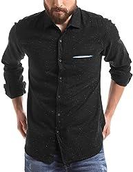 Shuffle Men's Casual Shirt (8907423059689_2021538702_Medium_Black)
