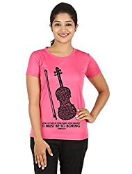 Fanideaz Silky Polyester Favourite Violin Tv Series Sherlock T Shirt for Women_Pink_XL