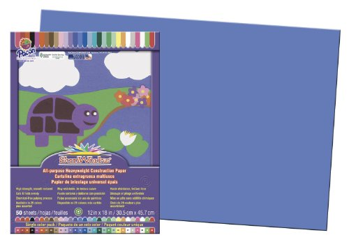 Pacon SunWorks 7407 Construction Paper, 58 lbs., 12 x 18, Blue, 50 Sheets/Pack (PAC7407)