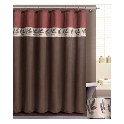 Embroidered leaves shower curtain : Designer brown and rusty red embroidered stitched leaf