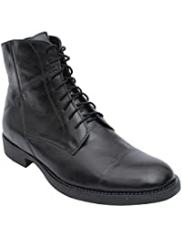 Salt N Pepper Ray Moulded 100% Genuine Leather Black Men Lace Up Boots