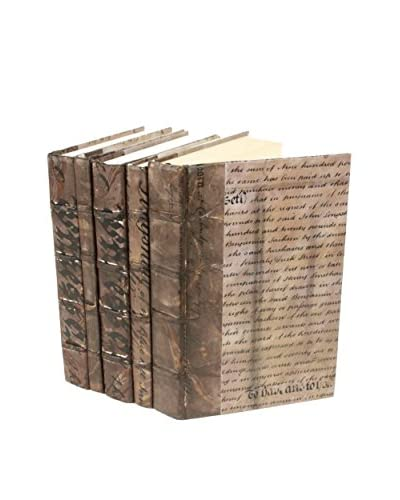 Set of 5 Document Collection Books, Bronze/Metallic