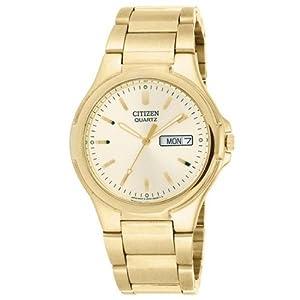 Citizen Quartz Date Day Gold Tone Mens Watch