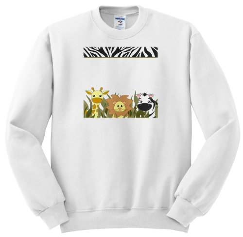 Ss_128530_2 Janna Salak Designs Jungle Animals - Cute Baby Jungle Animals On White - Giraffe Lion Zebra - Sweatshirts - Adult Sweatshirt Medium front-1012317