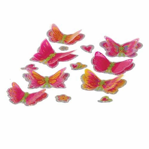 Set Of 84 3D Mylar Butterfly Stickers