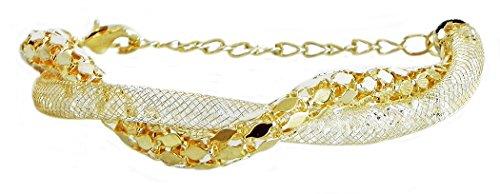 DollsofIndia Crystal Beaded Metal Charm Bracelet - Crystal Bead - White