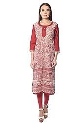 Navriti maroon printed khadi kurta