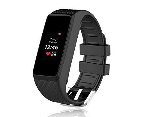 Inchor Smart Bracelet IP67 Waterproof Colorful OLED Touchscreen Display Fitness Tracker Bluetooth 4.0 (Black)