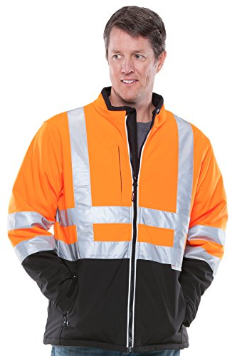 Refrigiwear Men'S Hivis Soft Shell Jacket Black/Orange Small front-722114