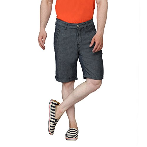 Ripfly Grey Washed Solid Shorts For Men