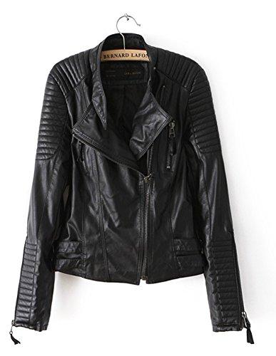 Womens Faux Zip up Short Biker Jacket Coat Bomber Outerwear Motorcycle Blazer Jacket