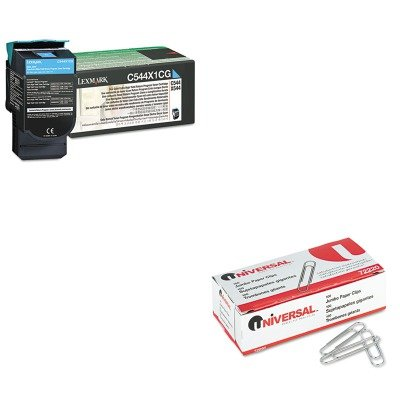 KITLEXC544X1CGUNV72220 - Value Kit - Lexmark C544X1CG Extra High-Yield Toner (LEXC544X1CG) and Universal Smooth Paper Clips (UNV72220) kitmmmc60stpac103637 value kit scotch value desktop tape dispenser mmmc60st and pacon riverside construction paper pac103637