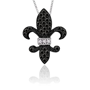 10K White Gold 0.15 ct. Black and White Diamond ''Fleur-De-Lis'' Pendant with Chain from Katarina