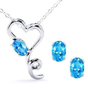 2.45 Ct Blue Topaz Heart Shape Pendant Earrings 925 Sterling Silver Set 18""