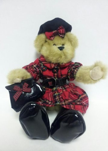 Fiona Bear 2008 in Tartan Plaid Double Breasted School Uniform and Beret With Patent Leateher Boots and Purse - 1