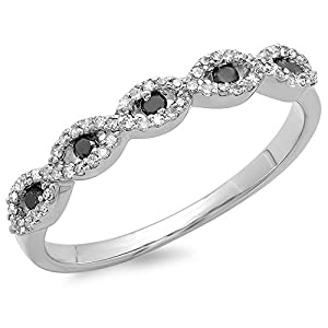 0.25 Carat (ctw) 14K White Gold Round Black & White Diamond Ladies Bridal Stackable Anniversary Wedding Band Swirl Ring 1/4 CT (Size 7.5)