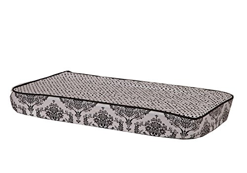Bacati - Classic Damask White/black Pin Dots Changing Pad Cover