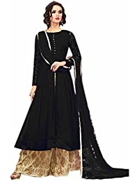 ARYAN FASHION Designer Beautiful Black Nd Beige Embroidered Long Anarkali Suit Semi-Stitched Suit ( Bottom Unstitched)