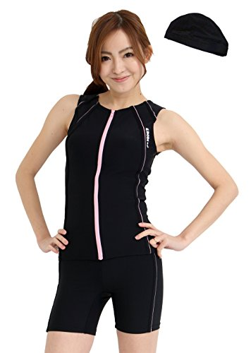 C108 (switches) lemode made Japan fitness swimwear Cap with front zipper separated collarless ladies Dancewear (black & pink, 9 M)