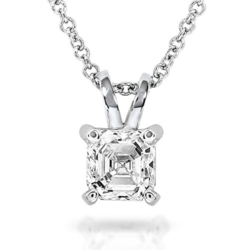 pendentif diamant solitaire 1 2 carat asscher en or blanc 14 k bijouterie dulcinea. Black Bedroom Furniture Sets. Home Design Ideas