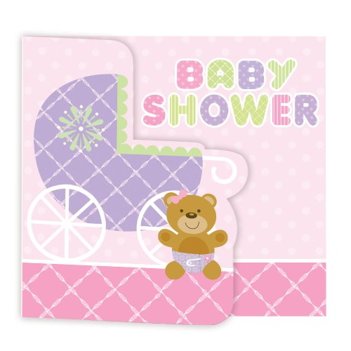 Creative Converting Baby Shower Teddy Baby Pink 8 Count Enhanced Invitations - 1