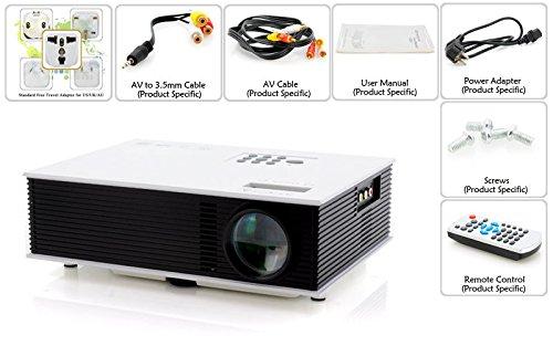 Aometech Uc80 Portable Full Hd Projector Hdmi Av Vga Port Usb,1500Lm Led Projector Cinema Theater