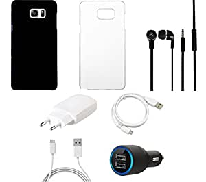 NIROSHA Cover Case Charger Headphone USB Cable for Samsung Galaxy Note 5 - Combo