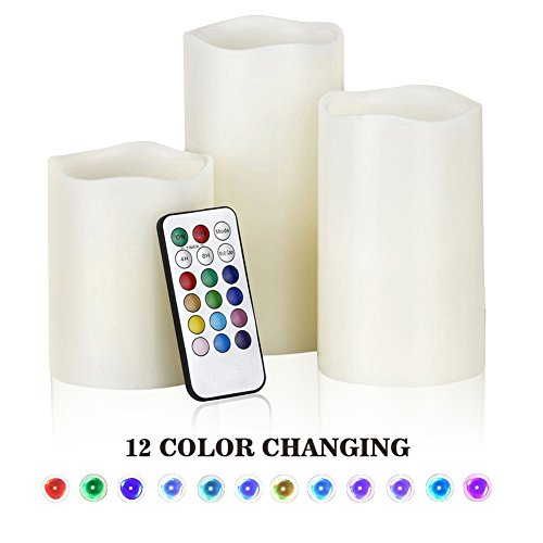 Electric Flameless Pillar Candles Set, LED Flickering Battery Operated Candles with Multi Function Color Changing Remote & Timer, Safety Indoor/Outdoor Decorative Candles by Dudu