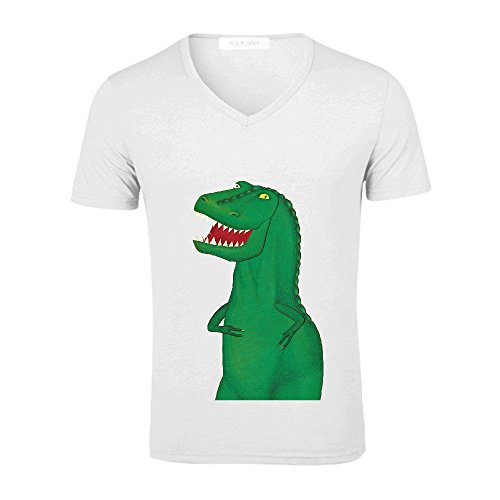 Likeu T Rex Funny Mens V Neck Graphic Tee White