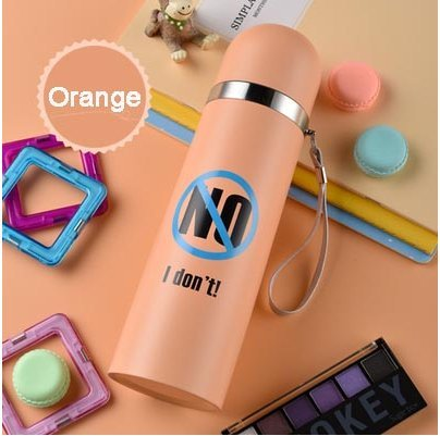 500ml (Orange) Creative Thermos Flask cup stainless steel vacuum thermos  Hot Cold Drinkware insulated Flask Straight Mug Travel tumbler Vacuum Flask