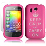 KEEP CALM AND CARRY ON LASERED SILICONE CASE PINK FOR HTC EXPLORER WITH SCREEN PROTECTOR