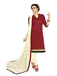 Snehaa Fashion World Exclusive Collection of Red, Cream Banglori Silk Dress Material With Chiffon Dupatta