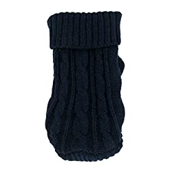 Imported Pet Dog Puppy Warm Winter Knitted Sweater Apparel Costumes 6# Dark Blue
